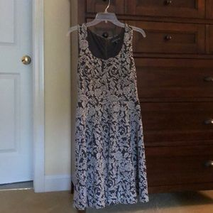 Grey Floral Fit and Flare Dress size Medium